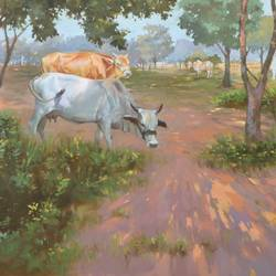 glory of afternoon , 36 x 24 inch, navnath  niphade,paintings,landscape paintings,paintings for office,canvas,oil,36x24inch,GAL0670015229