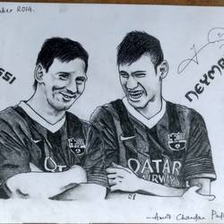 neymar jr and lionel messi, 9 x 12 inch, amrit chandan padhi,drawings,portrait drawings,paper,graphite pencil,9x12inch,GAL0670615238