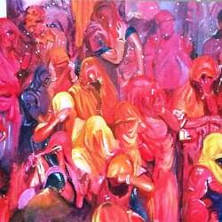 huranga holi, 38 x 55 inch, shatakshi  sharma,paintings,modern art paintings,canvas,acrylic color,38x55inch,GAL0670315240