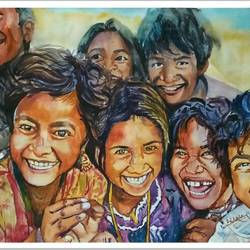 happiness , 22 x 30 inch, shatakshi  sharma,paintings,portrait paintings,fabriano sheet,watercolor,22x30inch,GAL0670315243