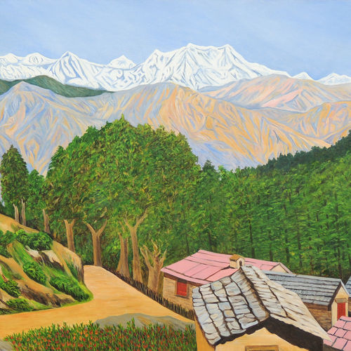 himalayan trails, 48 x 36 inch, ajay harit,paintings,landscape paintings,nature paintings,realism paintings,realistic paintings,paintings for dining room,paintings for living room,paintings for bedroom,paintings for office,paintings for hotel,paintings for school,paintings for hospital,canvas,oil,48x36inch,GAL0199815257Nature,environment,Beauty,scenery,greenery