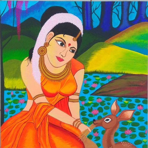 alluring lady, 20 x 20 inch, nidhi chikani ,paintings,portrait paintings,paintings for dining room,paintings for living room,paintings for bedroom,paintings for office,paintings for kitchen,canvas,acrylic color,20x20inch,GAL0514515265