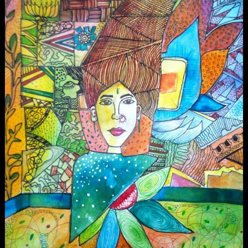 nirvana , 6 x 9 inch, vatsala  hede ,modern drawings,paintings for dining room,thick paper,mixed media,6x9inch,GAL06181528