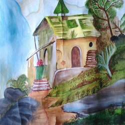 beauty of house , 18 x 12 inch, ranjana langyan,nature paintings,paintings for living room,handmade paper,watercolor,18x12inch,GAL0296615281Nature,environment,Beauty,scenery,greenery