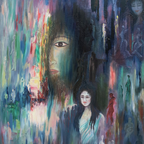 random reflection, 24 x 36 inch, rajesh sharma,paintings,abstract paintings,paintings for living room,paintings for office,paintings for hotel,paintings for school,canvas,oil,24x36inch,GAL050815286