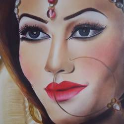bridal beauty, 12 x 16 inch, samiksha  singh,paintings,portrait paintings,paper,mixed media,12x16inch,GAL0105115287