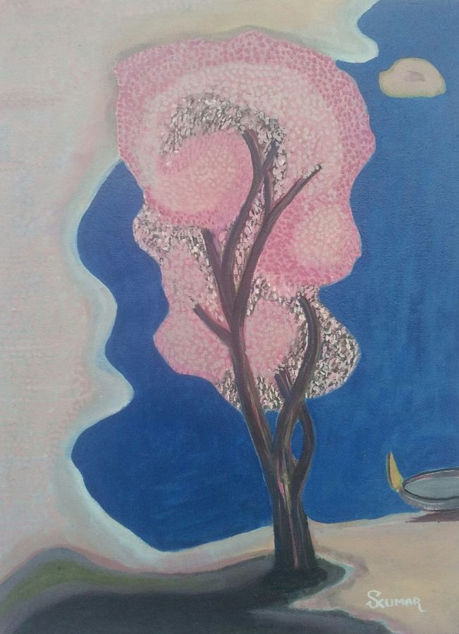 life tree, 18 x 24 inch, surendra kumar,nature paintings,paintings for dining room,paintings for living room,paintings for bedroom,paintings for bathroom,paintings for hotel,paintings for school,paintings for hospital,canvas,oil,18x24inch,GAL0507515288Nature,environment,Beauty,scenery,greenery