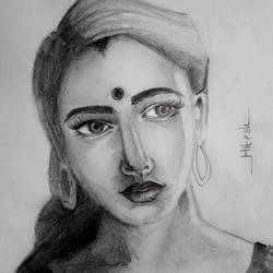 alone woman, 8 x 12 inch, hitesh mondal,drawings,paintings for living room,portrait drawings,paintings for living room,thick paper,graphite pencil,8x12inch,GAL0467115294