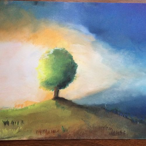 morning sunshine, 11 x 14 inch, rishabh  verma,paintings,landscape paintings,paintings for living room,paintings for bedroom,thick paper,pastel color,11x14inch,GAL0306315298