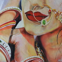 adorned in love, 19 x 22 inch, amrita das,portrait paintings,paintings for living room,love paintings,canvas,oil,19x22inch,GAL050153heart,family,caring,happiness,forever,happy,trust,passion,romance,sweet,kiss,love,hugs,warm,fun,kisses,joy,friendship,marriage,chocolate,husband,wife,forever,caring,couple,sweetheart