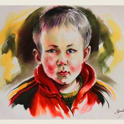 youngster, 36 x 24 inch, bijendra  pratap ,figurative paintings,paintings for living room,portraiture,handmade paper,watercolor,36x24inch,GAL04531530