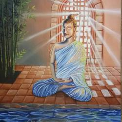 the enlightened one, 18 x 24 inch, herendra swarup,paintings,buddha paintings,religious paintings,paintings for dining room,paintings for living room,paintings for office,paintings for kids room,paintings for hotel,paintings for kitchen,paintings for school,paintings for hospital,paintings for dining room,paintings for living room,paintings for office,paintings for kids room,paintings for hotel,paintings for kitchen,paintings for school,paintings for hospital,canvas,acrylic color,18x24inch,religious,peace,meditation,meditating,gautam,goutam,buddha,lord,mudra,sunrays,GAL0346915302