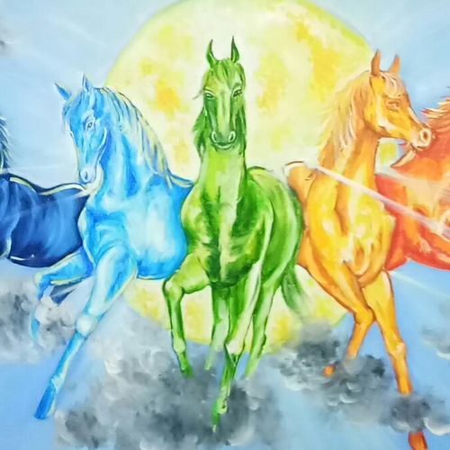 7 horses of the sun god, 48 x 24 inch, herendra swarup,paintings,religious paintings,animal paintings,horse paintings,paintings for dining room,paintings for living room,paintings for office,paintings for kids room,paintings for hotel,paintings for school,paintings for hospital,paintings for dining room,paintings for living room,paintings for office,paintings for kids room,paintings for hotel,paintings for school,paintings for hospital,canvas,oil,48x24inch,GAL0346915303