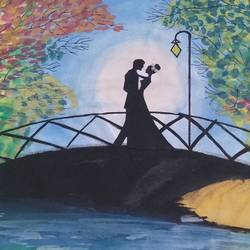 lovers on a bridge , 12 x 10 inch, d. s. k.  prasanthi ,love paintings,paintings for bedroom,paintings for bedroom,thick paper,acrylic color,12x10inch,GAL0674315304heart,family,caring,happiness,forever,happy,trust,passion,romance,sweet,kiss,love,hugs,warm,fun,kisses,joy,friendship,marriage,chocolate,husband,wife,forever,caring,couple,sweetheart
