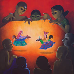 drama 04, 46 x 46 inch, prakash pore,paintings,figurative paintings,religious paintings,contemporary paintings,children paintings,kids paintings,canvas,acrylic color,46x46inch,GAL0544015306