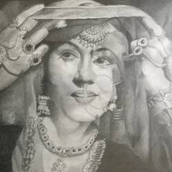 madhubala, 16 x 13 inch, anju khandelwal,drawings,portrait paintings,paintings for living room,paintings for bedroom,paintings for hotel,portrait drawings,paintings for living room,paintings for bedroom,paintings for hotel,paper,graphite pencil,16x13inch,GAL0673415309