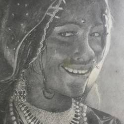 happy lady, 12 x 17 inch, anju khandelwal,drawings,paintings for living room,paintings for bedroom,paintings for hotel,figurative drawings,portrait drawings,paintings for living room,paintings for bedroom,paintings for hotel,paper,graphite pencil,12x17inch,GAL0673415310
