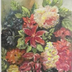 ravishing flowers, 13 x 16 inch, anju khandelwal,paintings,flower paintings,nature paintings,paintings for dining room,paintings for living room,paintings for bedroom,paintings for bathroom,paintings for hotel,paintings for kitchen,handmade paper,poster color,13x16inch,GAL0673415311Nature,environment,Beauty,scenery,greenery