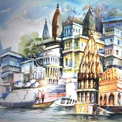 spritual termination, 22 x 15 inch, bijendra  pratap ,paintings for living room,paintings for office,cityscape paintings,landscape paintings,canson paper,watercolor,22x15inch,GAL04531532