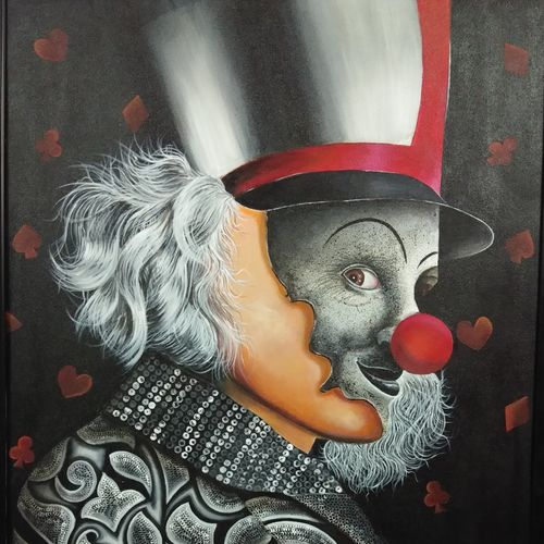 the joker, 24 x 36 inch, shaily mahor,portraiture,paintings for dining room,paintings for living room,paintings for hotel,figurative paintings,canvas,acrylic color,24x36inch,GAL0655215327