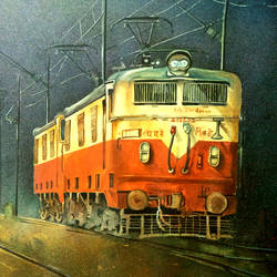 the rail engine, 30 x 22 inch, sumit  datta,paintings,realism paintings,thick paper,mixed media,poster color,watercolor,30x22inch,GAL0253015330