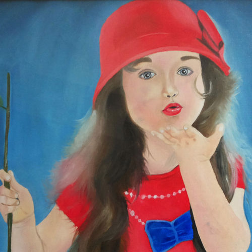 cute little girl, 20 x 13 inch, rijoy  emmanuel,paintings,figurative paintings,portrait paintings,canvas,oil,20x13inch,GAL0643115332