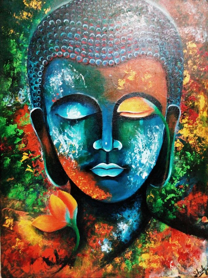 buddha, 18 x 24 inch, shaily mahor,paintings,buddha paintings,paintings for dining room,paintings for living room,paintings for office,canvas,acrylic color,18x24inch,peace,meditation,meditating,gautam,goutam,colorful,flowers,face,religious,GAL0655215333