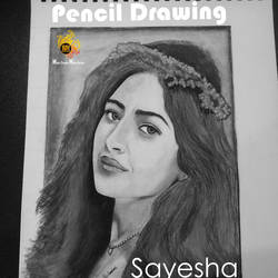 actress sayesha saigal pencil, 10 x 12 inch, rijoy  emmanuel,drawings,figurative drawings,portrait drawings,realism drawings,thick paper,pencil color,graphite pencil,10x12inch,GAL0643115338