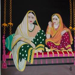 important guests enjoying a wedding, 40 x 40 inch, j.k  chhatwal,figurative paintings,canvas,acrylic color,40x40inch,GAL0537815342