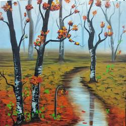 water in nature , 15 x 20 inch, shaily mahor,nature paintings,paintings for dining room,paintings for living room,paintings for bedroom,paintings for hotel,canvas board,acrylic color,15x20inch,GAL0655215346Nature,valley,environment,Beauty,scenery,greenery,tree,water,flower,