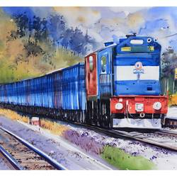 the train, 36 x 24 inch, bijendra  pratap ,paintings for living room,paintings for office,modern art paintings,realistic paintings,canson paper,watercolor,36x24inch,GAL04531535