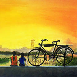 kerala water colour   evening scenery children and bicycle, 17 x 12 inch, rijoy  emmanuel,children paintings,paintings for bathroom,paintings for living room,paintings for bedroom,paintings for office,paintings for kids room,paper,watercolor,17x12inch,GAL0643115369