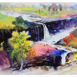 cascade, 36 x 24 inch, bijendra  pratap ,paintings for living room,paintings for office,nature paintings,water fountain paintings,canson paper,watercolor,36x24inch,GAL04531537Nature,environment,Beauty,scenery,greenery