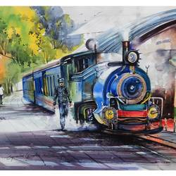 the train 2, 36 x 24 inch, bijendra  pratap ,paintings for living room,paintings for office,modern art paintings,realistic paintings,canson paper,watercolor,36x24inch,GAL04531538