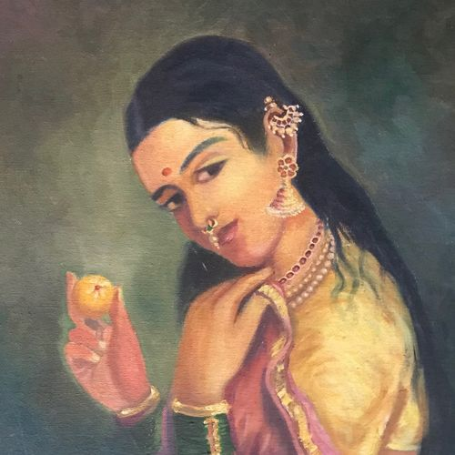 lady with lemon, 13 x 17 inch, anju khandelwal,paintings,figurative paintings,expressionist paintings,paintings for dining room,paintings for living room,paintings for hotel,paintings for dining room,paintings for living room,paintings for hotel,canvas,oil,13x17inch,GAL0673415381