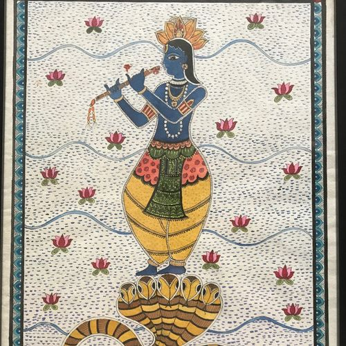 kaliya daman by lord krishna, 16 x 22 inch, anju khandelwal,paintings,religious paintings,paintings for living room,paintings for office,paintings for hotel,paintings for kitchen,paintings for hospital,handmade paper,ink color,16x22inch,GAL0673415383