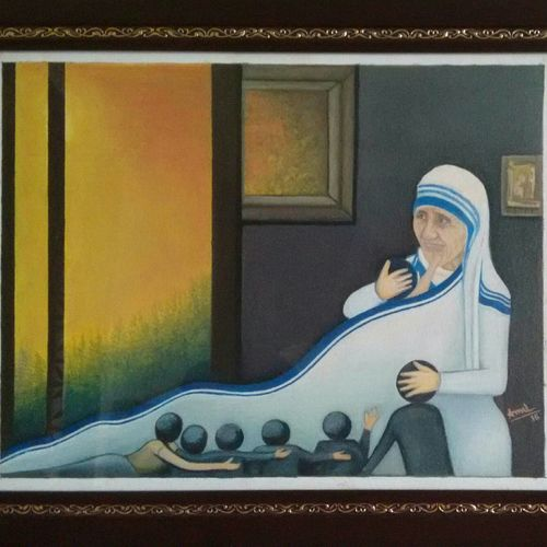 mercy statue, 16 x 12 inch, amit  paradkar,paintings,modern art paintings,religious paintings,love paintings,mother teresa paintings,children paintings,paintings for living room,paintings for school,paintings for hospital,paintings for living room,paintings for school,paintings for hospital,canvas,oil,16x12inch,GAL0672415386