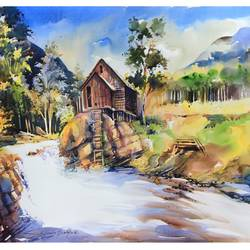 river side hut, 36 x 24 inch, bijendra  pratap ,paintings for living room,paintings for office,nature paintings,canson paper,watercolor,36x24inch,GAL04531539Nature,environment,Beauty,scenery,greenery