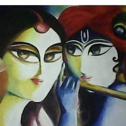 radha  krisna, 18 x 12 inch, sucharita chatterjee,modern art paintings,paintings for dining room,paintings for living room,paintings for bedroom,paintings for office,paintings for hotel,paintings for school,paintings for hospital,radha krishna paintings,hardboard,oil,18x12inch,GAL0584515390,radhakrishna,love,pece,lordkrishna,,lordradha,peace,flute,music,radha,krishna,devotion,couple
