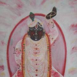 shreenathji in holi, 24 x 28 inch, purvii parekh,paintings,religious paintings,paintings for dining room,paintings for living room,paintings for hotel,paintings for dining room,paintings for living room,paintings for hotel,canvas,acrylic color,24x28inch,GAL0340015394