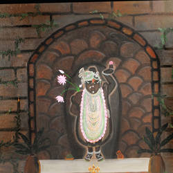 shreenathji in raga _deepak, 34 x 40 inch, purvii parekh,paintings,religious paintings,paintings for living room,paintings for hotel,canvas,oil,34x40inch,GAL0340015397