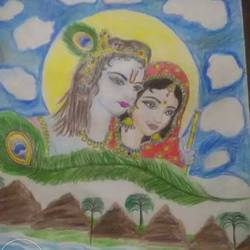 radha krishna, 4 x 6 inch, santosh  soni,paintings,abstract paintings,thick paper,pen color,4x6inch,GAL0680715402