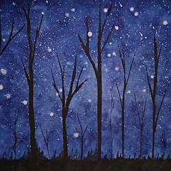 star night, 17 x 12 inch, mukesh tanwar,paintings,nature paintings,paintings for dining room,paintings for living room,paintings for office,paintings for hotel,thick paper,watercolor,17x12inch,GAL0671415407Nature,environment,Beauty,scenery,greenery