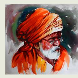 wrinkles of sprituality, 36 x 24 inch, bijendra  pratap ,paintings for living room,paintings for office,figurative paintings,portraiture,handmade paper,watercolor,36x24inch,GAL04531541