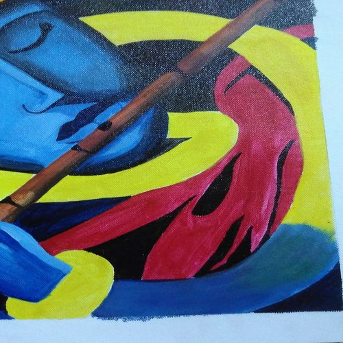 krishna, 12 x 16 inch, anshu chandra,paintings,abstract paintings,religious paintings,art deco paintings,paintings for living room,paintings for office,paintings for hotel,canvas,acrylic color,12x16inch,GAL0248515430