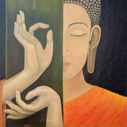 art of buddha, 20 x 26 inch, amit  paradkar,paintings,buddha paintings,modern art paintings,religious paintings,portrait paintings,paintings for dining room,paintings for living room,paintings for office,paintings for school,canvas,oil,20x26inch,religious,peace,meditation,meditating,gautam,goutam,buddha,lord,side face,mudra,GAL0672415439