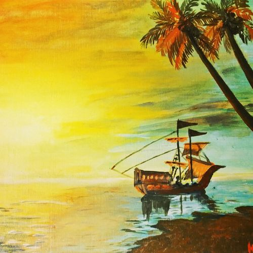 acyrlics on canvas, 15 x 12 inch, neha inaskar,paintings,landscape paintings,nature paintings,paintings for dining room,paintings for living room,paintings for bedroom,paintings for office,paintings for hotel,paintings for hospital,paintings for dining room,paintings for living room,paintings for bedroom,paintings for office,paintings for hotel,paintings for hospital,canvas board,acrylic color,15x12inch,GAL0674715440Nature,environment,Beauty,scenery,greenery,tree,river,boat,sunrise,coconut tree,island