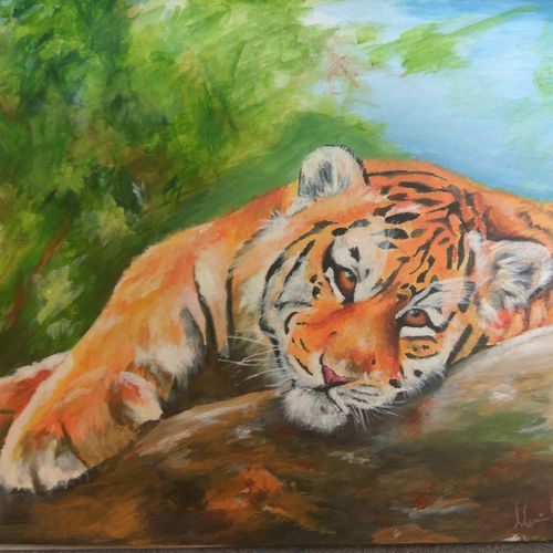 tiger , 18 x 14 inch, mervin gilchrist,paintings,wildlife paintings,animal paintings,realistic paintings,paintings for living room,paintings for office,paintings for hotel,paintings for living room,paintings for office,paintings for hotel,canvas board,acrylic color,18x14inch,GAL0682515443