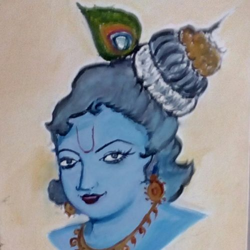 lord krishna, 9 x 11 inch, vidhya rathi,paintings,religious paintings,baby paintings,canvas,oil,9x11inch,GAL0208415446