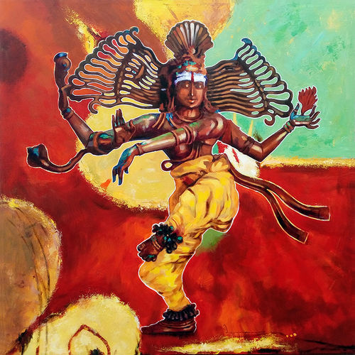 natarajar 03, 36 x 36 inch, jeyaprakash m,paintings,religious paintings,paintings for living room,paintings for office,paintings for hotel,paintings for school,paintings for hospital,canvas,acrylic color,36x36inch,GAL0110215453